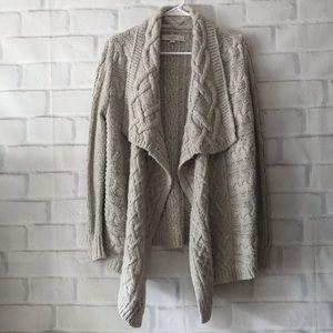 Loft waterfall wool-blend chunky cardigan